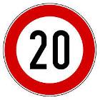 cartello stradale con limite di velocità di 20 km/h