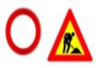 segnale di chiusura al traffico e lavori in corso