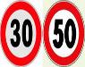 segnali limite 30 e 50 chilometri orari
